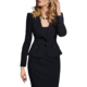 Hot Wholesale Solid Black Double Button Blazer Ladies Office Suit Styles