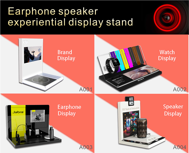 high quality counter L shape acrylic bluetooth speaker display stand music speaker display