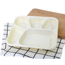 Cheap Price 5 Compartment Disposable Green Plastic Cornstarch Food Tray Takeaway Lunch Box