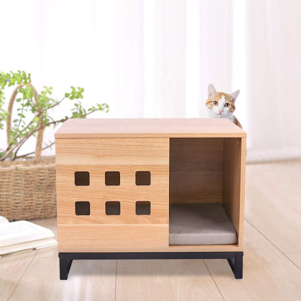 Rectangle Wooden Smart Cat House Outdoor&Indoor For Christmas Presents