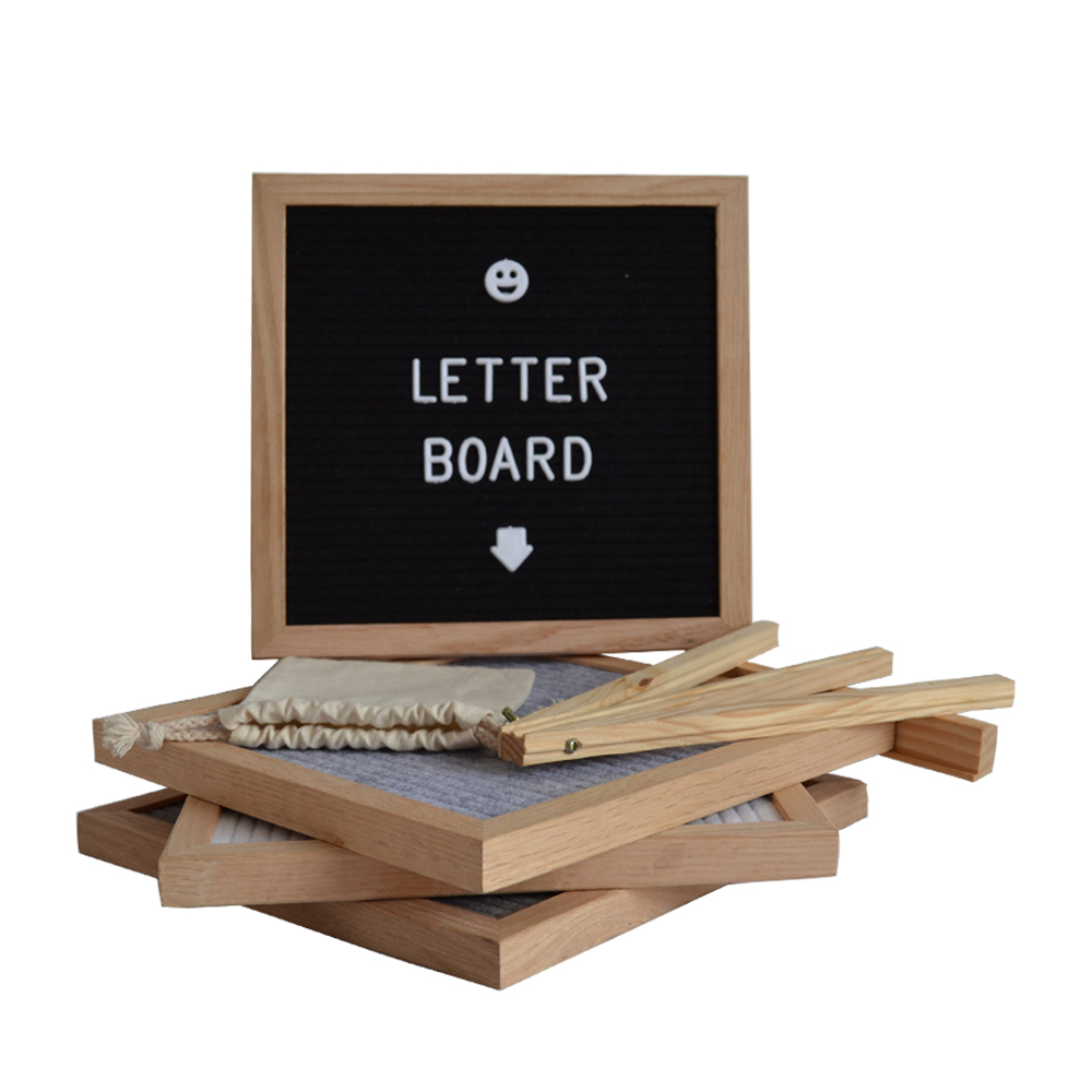 <strong>Black</strong> Felt Letter Board with Natural Oak Wood Frame and Stand 10x10 Inch plastic Changeable letters