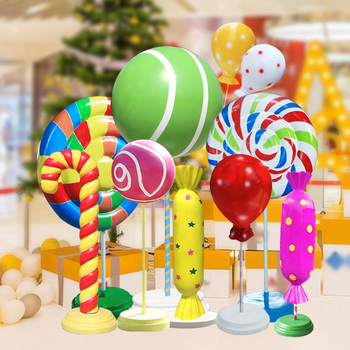 2019 Giant fiberglass Lollipop resin candy Freestanding Photo Prop Candy Land Christmas Alice in Wonderland for kid