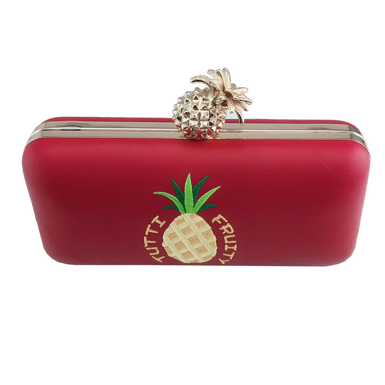 Fashion PU leather evening purse embroidered pineapple pattern ladies clutch bag