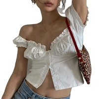 Manqi White Crop Top Shirt With Puff Sleeve Deep-V Low Cut Cross Sexy Women Clothes Sexy Backless Blouse