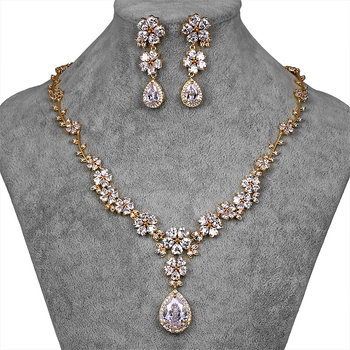 Flower and Teardrop Cubic Zirconia Crystal Necklace and Earring Bridal Wedding Jewelry Sets