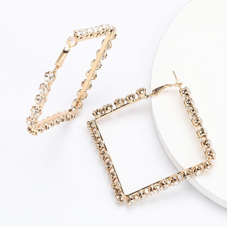 Gold Plated Brass Crystal Rhinestone Earrings Exaggerated Hoop Heart Earring