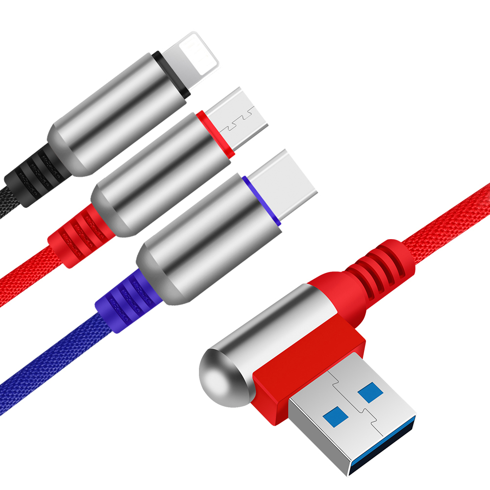 Nylon Braided Zinc Alloy 3 In 1 Charging USB Cable for iPhone &amp; Micro Usb &amp; Type <strong>c</strong>