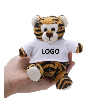 Promotional custom LOGO giant stuffed plush tiger with T shirt toy/lifelike plush tiger animal toy/direct factory tiger toy
