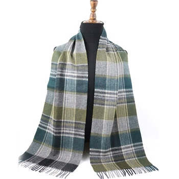 Men Women Fashion Autumn Winter Canada Stripe Norway Check Sweden Custom Turkey Scarf Wool 100 Woven Plaid Green And White Scarf