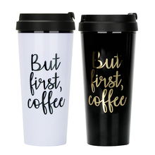 Wholesale Cool Souvenir ECO Friendly 16oz Printed Custom Logo Camping Gift <strong>Black</strong> and White Coffee Travel Mug With Lid