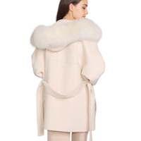 Double Faced Wool Coat with Fur /Winter Real Fox Fur Collar Long Plus Size Ladies Handmade Women Cashmere Wool Coat for Women