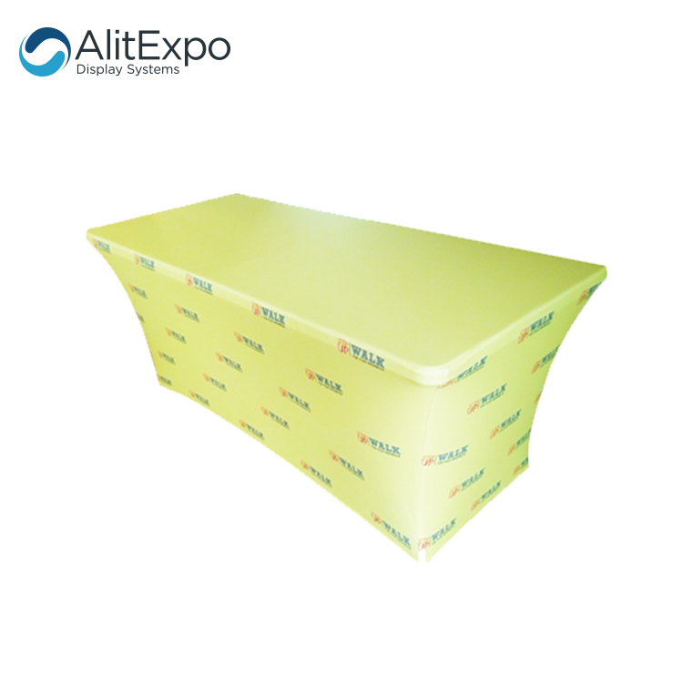 Latest outdoor trade show tablecloth print advertising stretch table cover