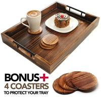 Large Wooden Serving Tray with Metal Handles Includes Set of 4 Coasters This 20x14 Ottoman Tray Known as Coffee Table Tray