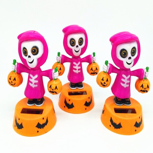Custom cheap small panel system dancing wholesale plastic sunlight energy skeleton hot cute solar powered nodding toy for kids