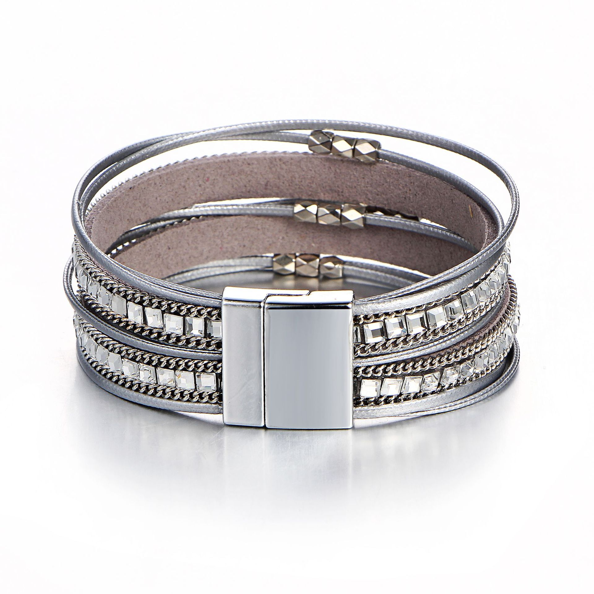 Wholesale Femme Leather Bracelet Fashion Rhinestone Magnetic Clasp Bracelet For Women