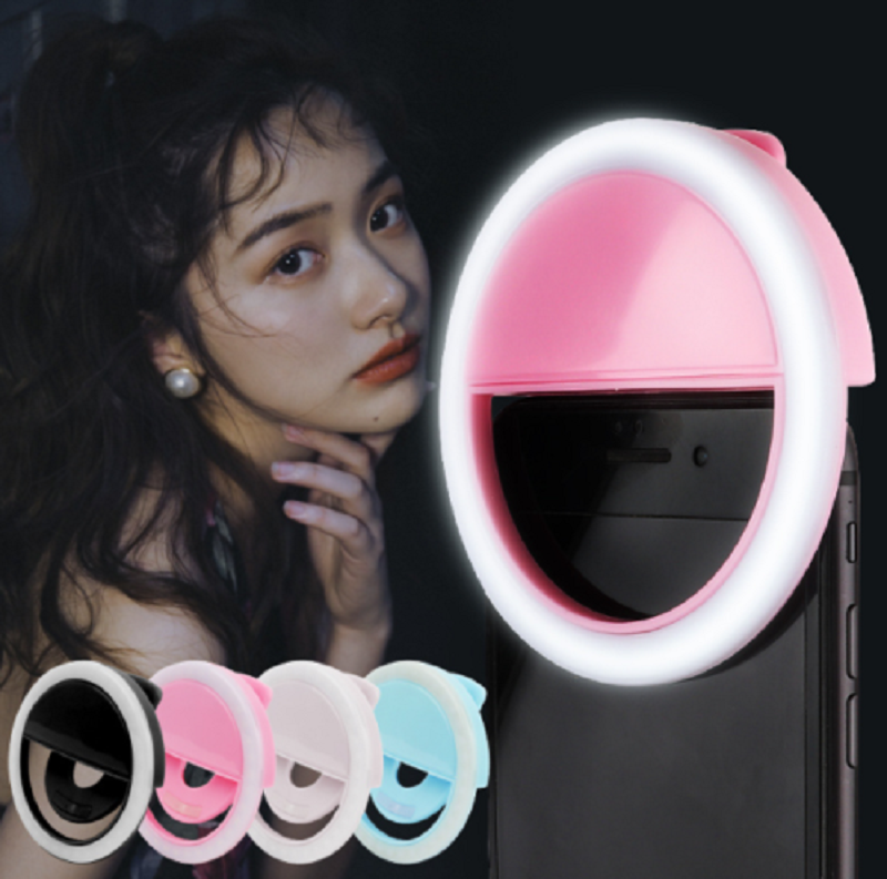 Portable Rechargable 3W Luxury Selfie LED Camera Ring Flash Fill Light For Mobile Phone F12 80x30mm 100mah 1A 5V