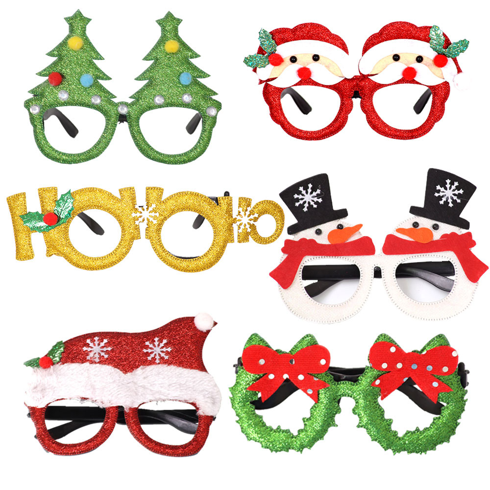 <strong>Christmas</strong> Decorations For Home Decor New Year Glasses Gifts For Children Santa Claus Deer Snowman <strong>Christmas</strong> Ornaments Glasses