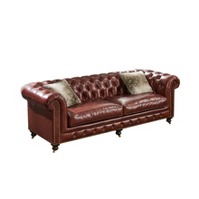 Italian Leather Sofa Set Living Room <strong>Furniture</strong> 3 Seater Luxury Wooden Sofa Set Chesterfield