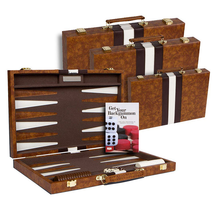 purchase custom made portable vintage cheap board backgammon game in leather case for travel