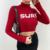 2020 Autumn Hot Sell Women Top Long Sleeve Letter Print Turtleneck Short T Shirt Knitted Street Wear