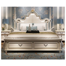 modern european solid wood bed Fashion Carved 1.8 m bed french bedroom <strong>furniture</strong> bng004
