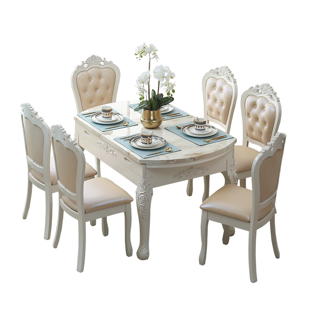 French Latest Design Marble Round <strong>Table</strong> And Chair Set Restaurant Wooden Furniture