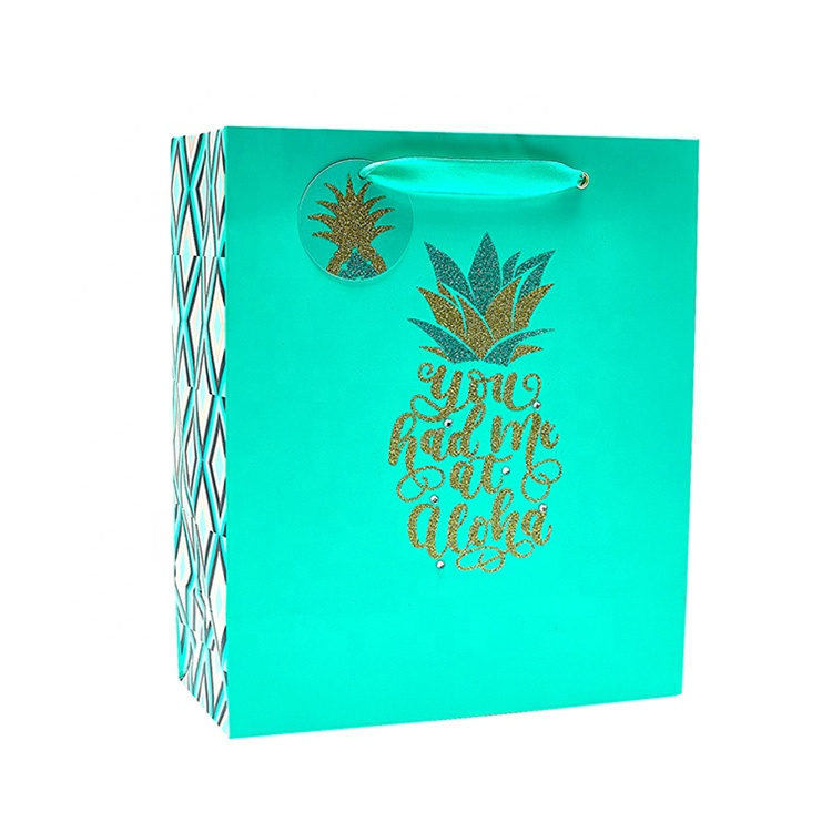 Wholesale Blue Pineapple Paper Shopping <strong>Bag</strong>, Luxury custom Printing Paper Gift <strong>Bag</strong> with Handle