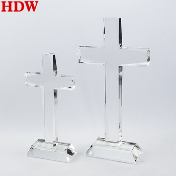 Factory Wholesale K9 Crystal Glass Cross custom clear crystal cross religious awards with stand for Religious gift
