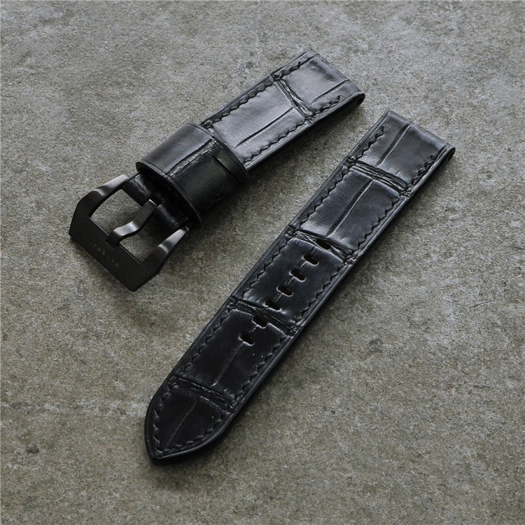 24mm black genuine calf leather crocodile <strong>grain</strong> 24mm changeable apple watch strap