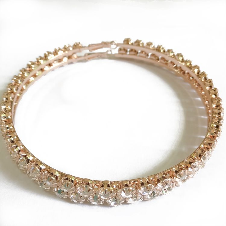 2019 New Trendy Fashion Style Oversize Rose Gold Plated Rhinestone Diamond Round Thick Hoop Earrings
