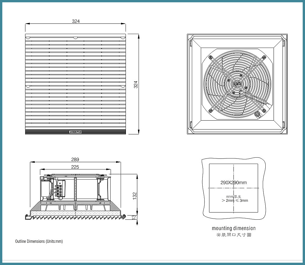 FJK6626.M230 Filter fan Ventilation Systemswith RAL7035 color for electrical boar and panel