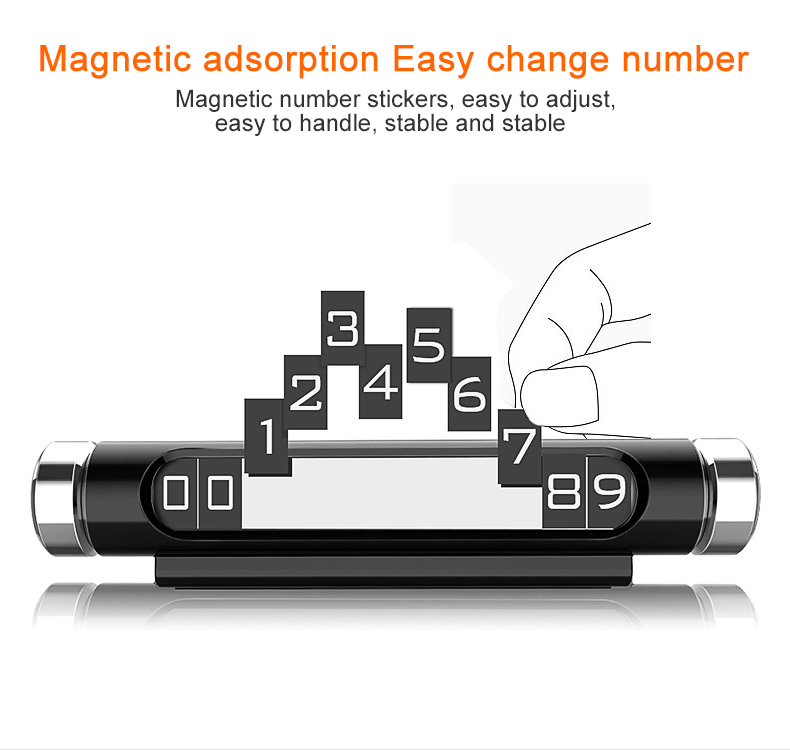 Universal Creative Magnetic Adsorption Design Phone Number Plate Rotatable Car Temporary Parking Card