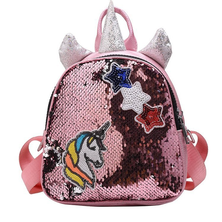 New sequins little girls unicorn Preschool glitter Reversible bag sequins <strong>backpack</strong> for girls