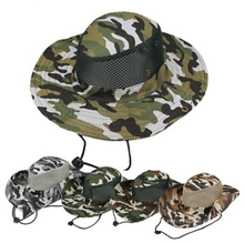 Sun Protection Fold brim <strong>Flat</strong> Top Mesh Camouflage Boonie Bucket Hat cap with string