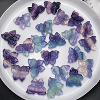 Wholesale Natural Crystal Rainbow Fluorite Crystal Carving Butterfly Buddha Pendant for Gift