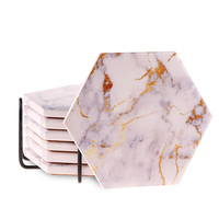 Hot-seller custom stone ceramic marble coasters hexagon coaster for kitchen drinkware cups