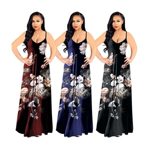 The women spring and autumn ladies printing high quality ladies long dress slip dress