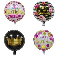 Wholesale 18 inch custom printing gold hot stamping happy birthday round party foil balloons