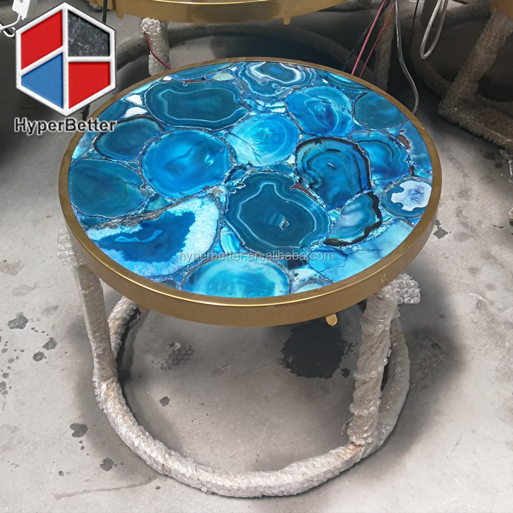 LED light agate tables