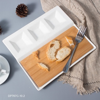 White divided ceramic Serving Plate with removable bamboo cheese board for Bread snack including porcelain dip slide