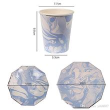 Novel Blue Halo Pattern Marble Creative Disposable Tableware Set Paper <strong>Plates</strong> Cups Party Wedding Carnival Tableware Supplies
