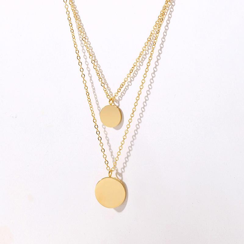 Fashion 2020 Hot Sale gold plated stainless steel Round coin shape double necklace European American style Dylam jewelry