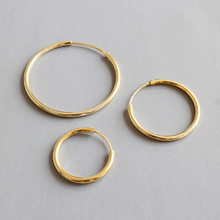 Sland 18k gold plated jewelry 15-30 mm 925 sterling silver hoop <strong>earrings</strong> for women or girls