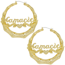 Big gold plated bamboo name custom <strong>earrings</strong> with logo