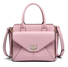 <strong>Design</strong> For Fashion Selling Quality Pink Hard Grain Italian Leather Women Bag with Lock Handbags