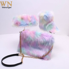 Children Snow Boots Winter 2020 New Girl Faux Fox Fur Ankle Boots Winter Warm Shoes with headband handbags For Child