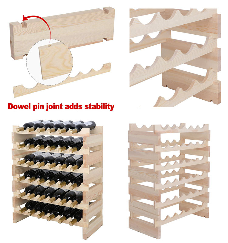 Manufacture producing wood countertop wine rack with free design