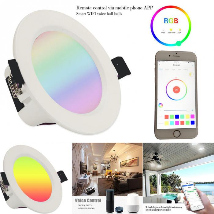Smart Wifi Tuya 12W RGB Dimmable  LED Down Lights Compatible with Alexa Google Home  Wifi  Smart Led Downlights