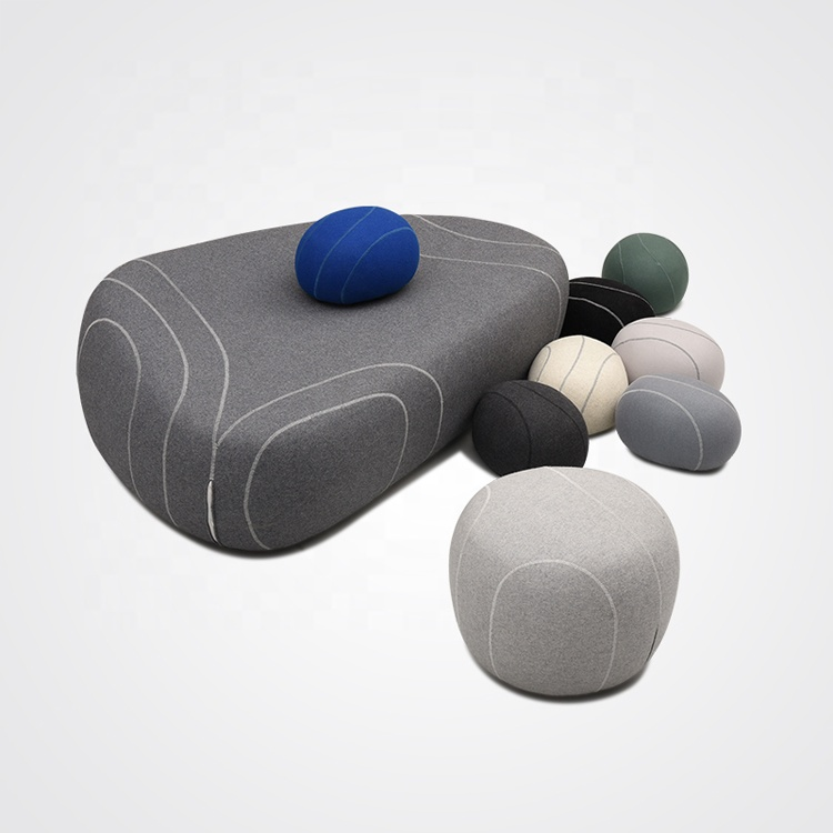 Fiberglass modern waiting room furniture felted wool stones ottoman pouf floor pillows seat