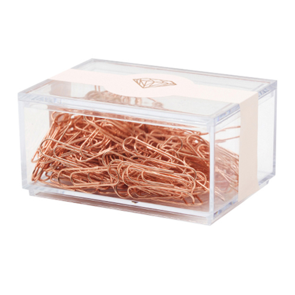 Clear Box Rose Gold Paper <strong>Clip</strong> Fashion Pin Needle U-shaped Paper <strong>Clip</strong>
